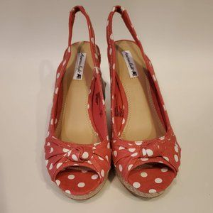 Coral Polka Dot Wedged Sandals